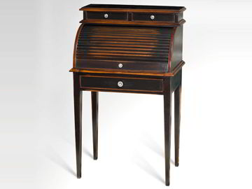The compartments at the desk top is shown when the wooden slats roll slides open. The top leaf pulled to extend the desktop.