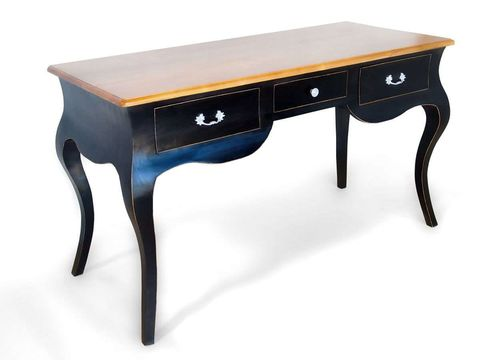 The black wood desk full view, the cabriole legs shape applied to the apron.