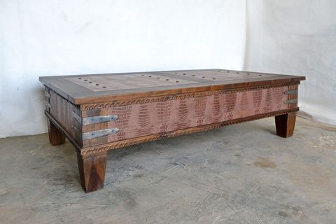 Leather inlay center table