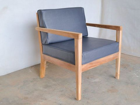 Wooden slats chair tapered legs with synthetic leather seat cushion backrest