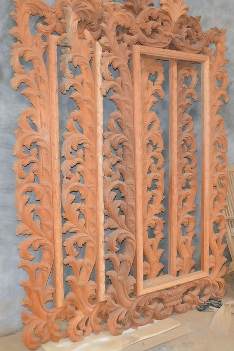 Acanthus mirrors solid mahogany wood unfinished