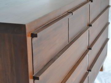 Solid wood drawers, 4  drawers on topmost row, 2 drawers on 3 rows.