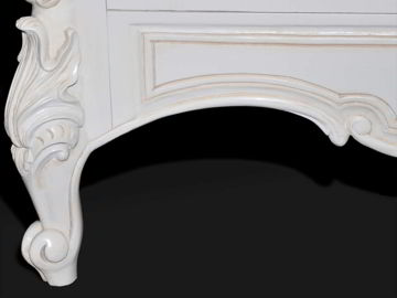 Top cresting detail, classic rococo carving antique white painted.