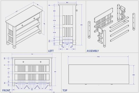 Console table shop drawing