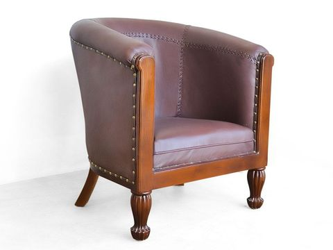 Teak tub chair leather upholstery full view