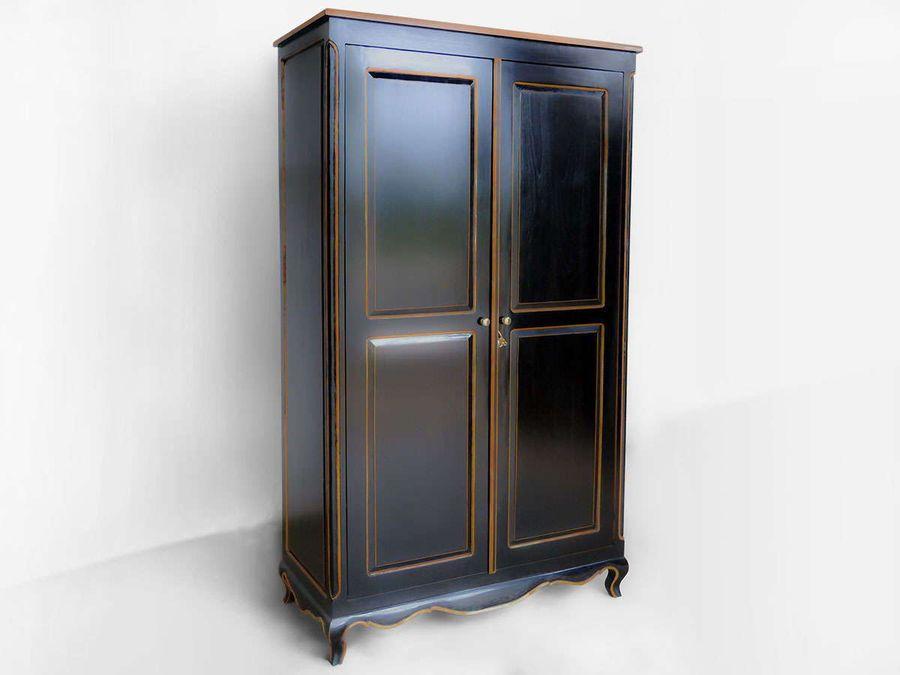 Black wood wardrobe cabinet