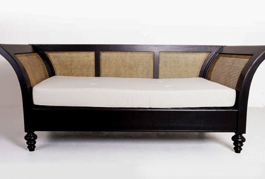 Indonesia colonial period teak wood sofa rattan backrest