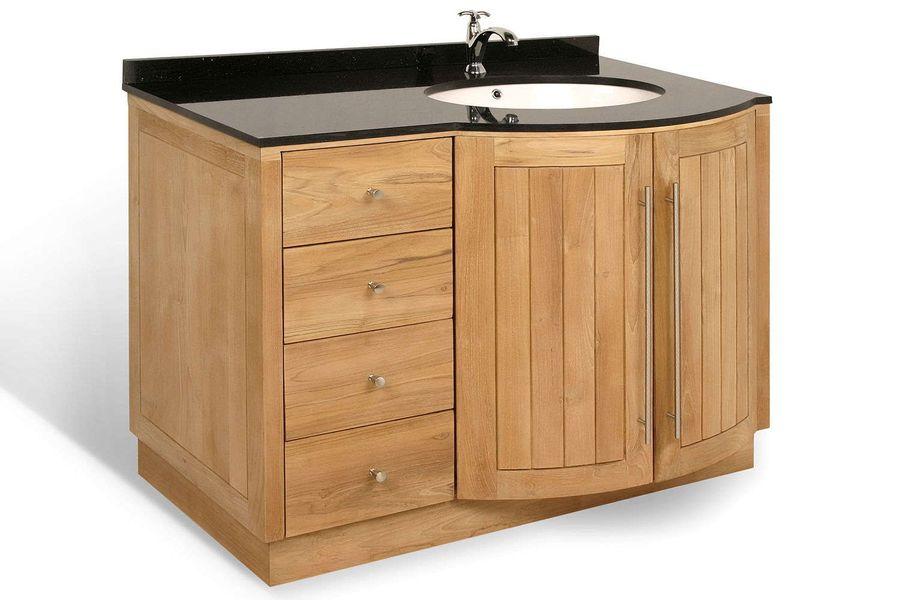 Bathroom vanity 4D2Ld teak solid wood marble top