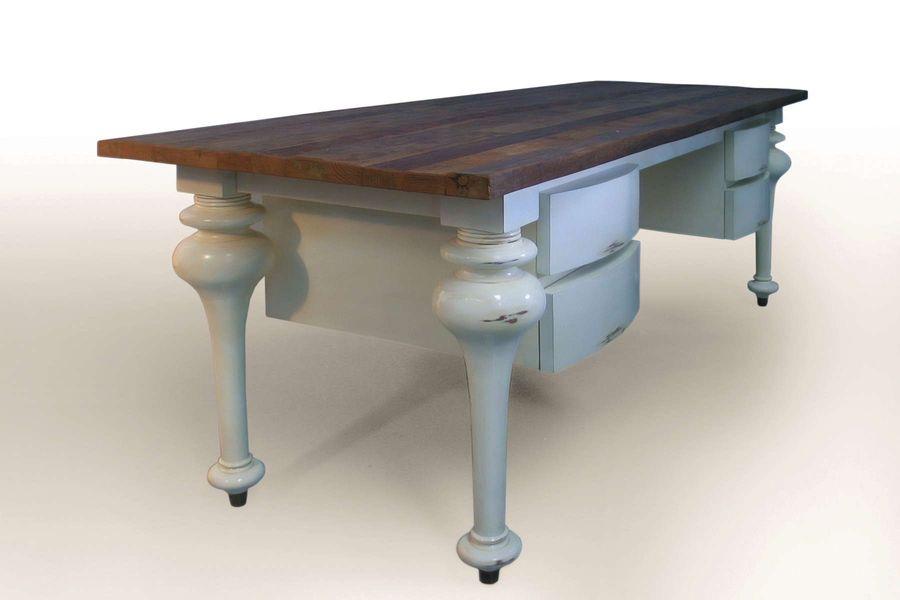 Reclaimed wood desk: Old teak wood on mahogany fluted legs