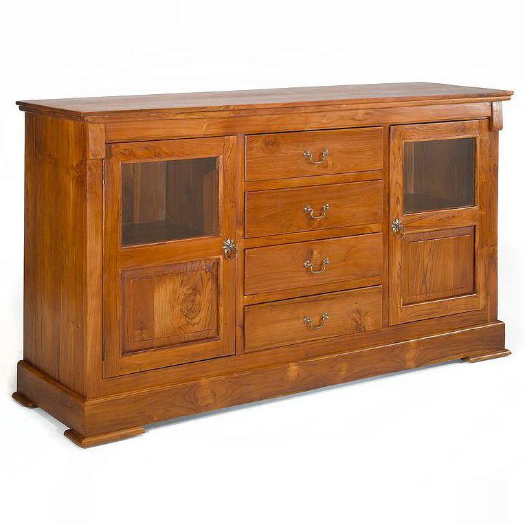 Buffet 4 drawers glass doors