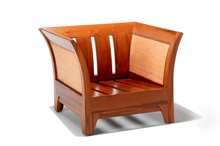 Teak Wood Armchair Caned Sides