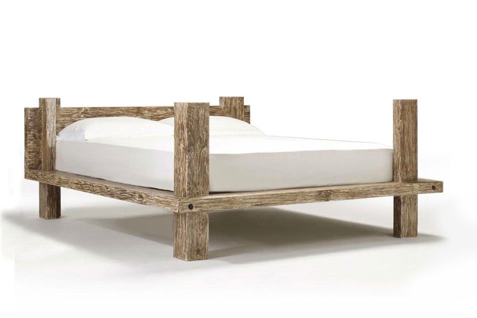 Reclaimed wood rustic bed solid wood slats mattress support