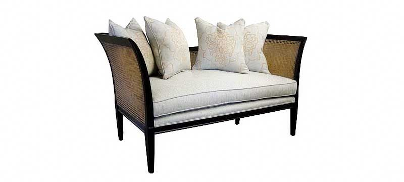 Dominion cane sofa solid wood curved frame
