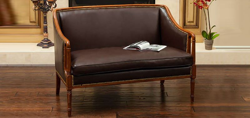 Christopher Knights wood frame loveseat